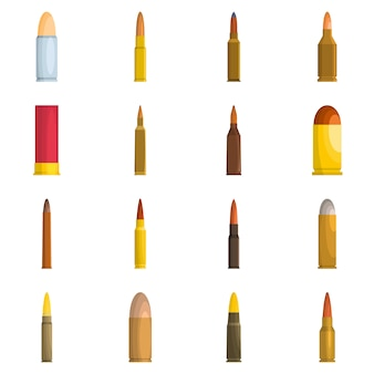 Bullet gun military icons set vector isolated