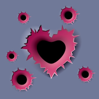 Bullet hole in the form of heart