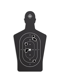 Bullet holes target realistic composition on white with paper target with holes