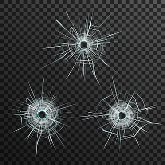 Bullet holes template in glass on transparent gray background