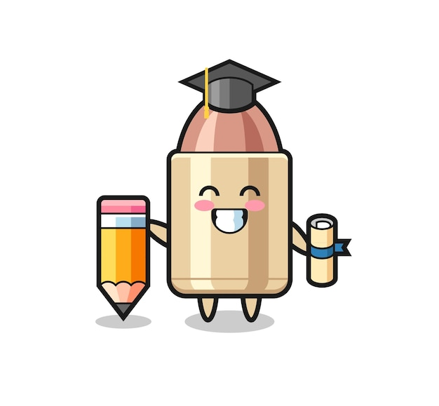 Bullet illustration cartoon is graduation with a giant pencil , cute style design for t shirt, sticker, logo element