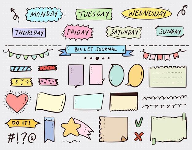 Журнал bullet journal отмечает бумагу и набор списков дел в красочном стиле