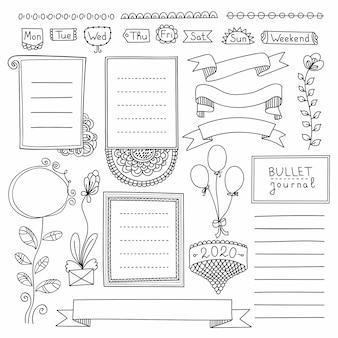 弾丸ジャーナル手には、ノート、日記、プランナーの要素が描画されます。白い背景で隔離のバナーを落書き。曜日、メモ、リスト、フレーム、仕切り、リボン。