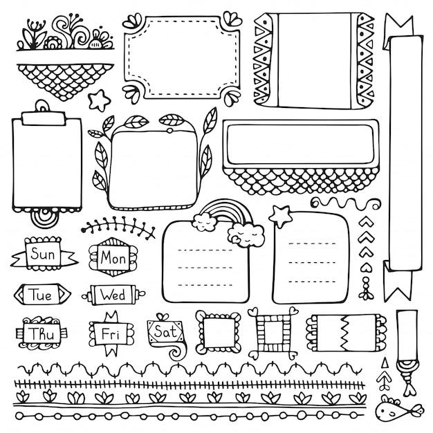 Пуля журнал рисованной элементы для ноутбука, дневника и планировщика. изолированные рамки каракули