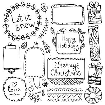 노트북, 일기 및 플래너에 대한 총알 저널 손으로 그린 요소. 낙서 프레임 및 흰색 배경에 고립 된 크리스마스 요소 집합입니다.