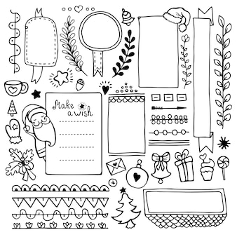 노트북, 일기 및 플래너에 대한 총알 저널 손으로 그린 요소. 낙서 프레임, 배너 및 흰색 배경에 고립 된 크리스마스 요소 집합입니다.