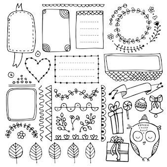 노트북, 일기 및 플래너에 대한 총알 저널 손으로 그린 요소. 낙서 프레임, 배너 및 꽃 요소 흰색 배경에 고립의 집합입니다.
