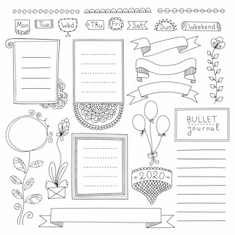 Bullet journal hand drawn elements for notebook, diary and planner. doodle banners isolated on white background. days of week, notes, list, frames, dividers, ribbons.