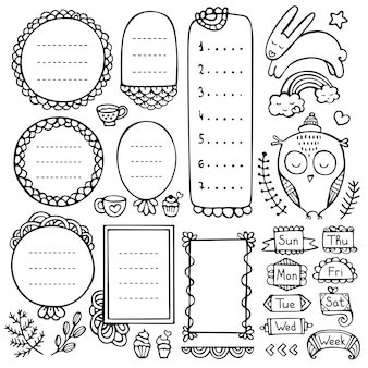 Bullet journal hand drawn   elements for notebook, diary and planner. doodle frames isolated