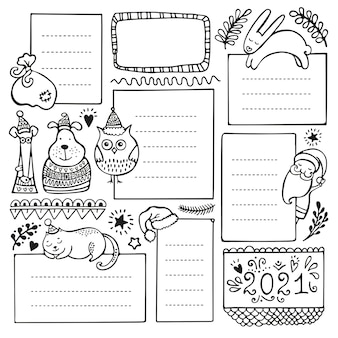 Bullet journal hand drawn elements for notebook, diary and planner. set of doodle frames, banners and floral and christmas elements isolated on white background.