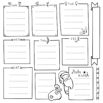 Bullet journal hand drawn elements for notebook, diary and planner. set of doodle frames