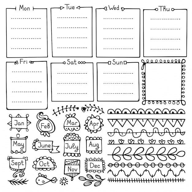 弾丸ジャーナル手には、ノート、日記、プランナーのベクトル要素が描画されます。