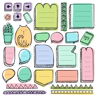Bullet journal hand drawn vector elements for notebook, diary and planner. doodle frames set isolated.
