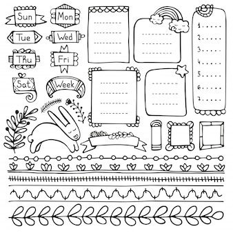 Bullet journal hand drawn vector elements for notebook, diary and planner.