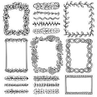 Bullet journal hand drawn vector frames and elements for notebook, diary and planner.