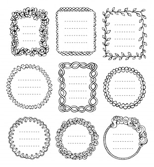 Bullet journal hand drawn vector frames for notebook, diary and planner.