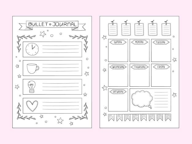 弾丸ジャーナルページ。手描きのノートと仕切りフレームオーガナイザーまたはプランナーのベクトルデザインテンプレート