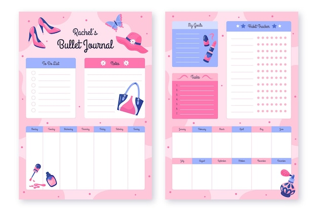 Bullet journal planner template collection