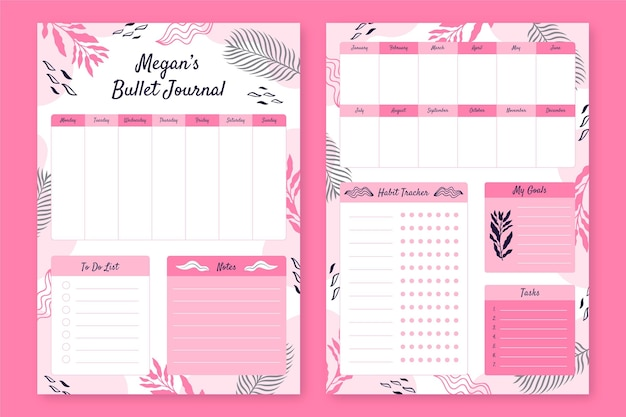 Bullet journal planner template pack