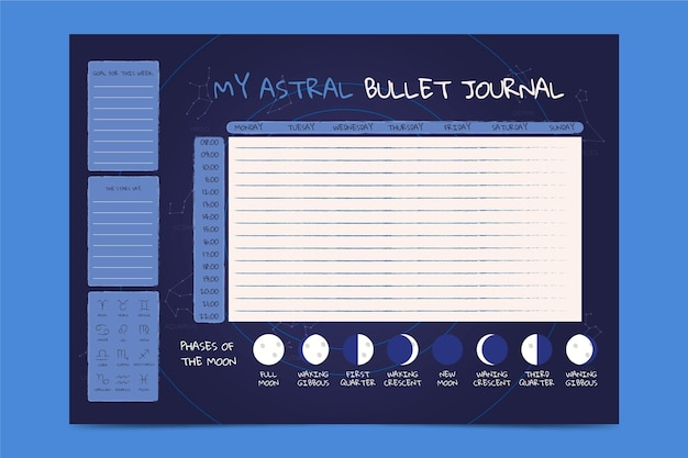 Bullet journal planner template with moon phases