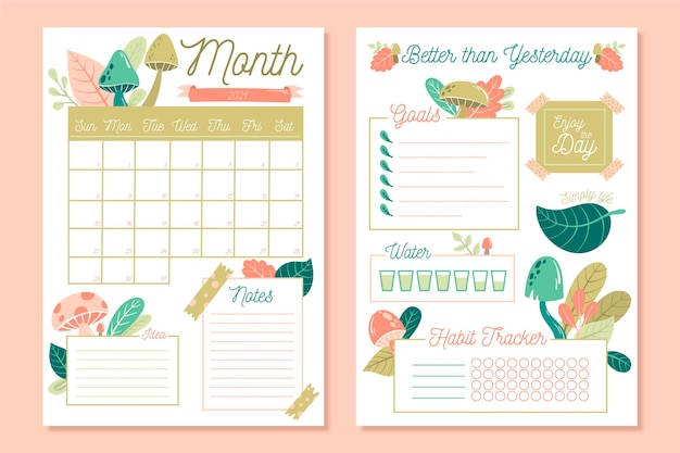 Bullet journal planner template