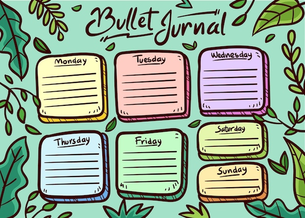 Bullet journal planner on weekdays