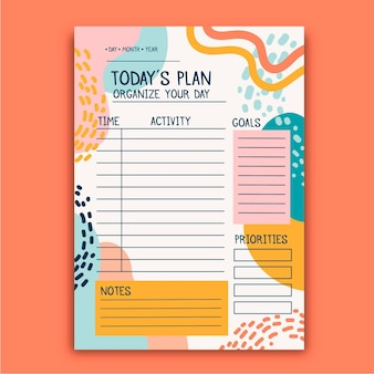 Bullet journal planner with colored shapes