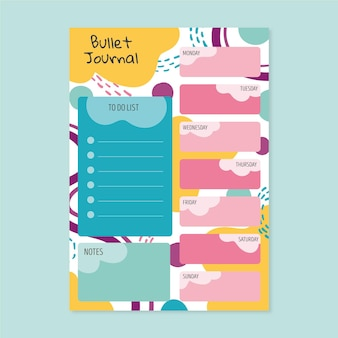 Bullet journal planner with colorful shapes