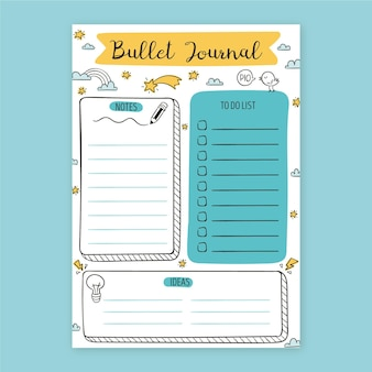 Bullet journal planner with drawn elements