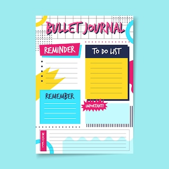 Bullet journal planner with various reminders