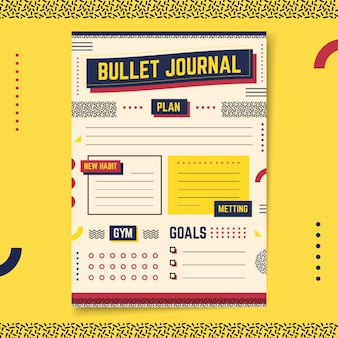 Bullet journal planner yellow background