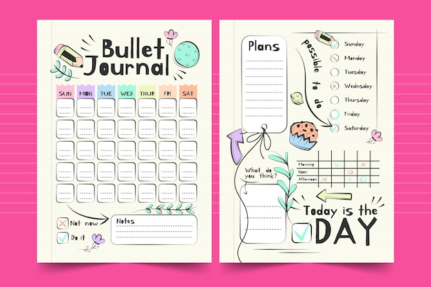 Bullet journal weekly planner template