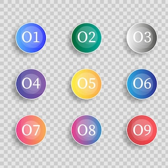 Bullet marker icon with number 1 to 12 for infographic, presentation. number bullet point colorful 3d markers isolated on transparent background. sticky point gradient color. vector illustration.