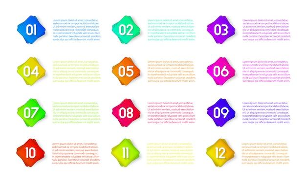 インフォグラフィック、プレゼンテーションの番号1〜12の箇条書きマーカーアイコン。番号箇条書きのカラフルな3 dマーカーは、白い背景で隔離。スティッキーポイントグラデーションカラー。イラスト、eps 10。