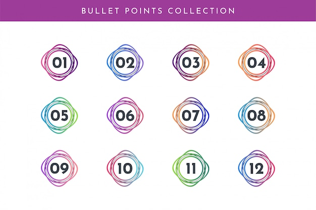 Bullet point number collection set 1 to 12