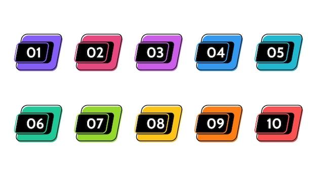 箇条書きデータ、情報マーカー。アイコンの矢印。番号フラグ分離インフォグラフィックイラスト