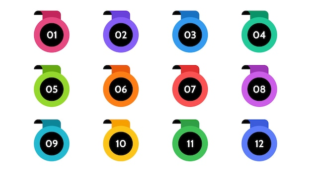 Bullet points data, info markers. icon arrow set. number flags 1 to 12 flat design isolated . infographic illustration.