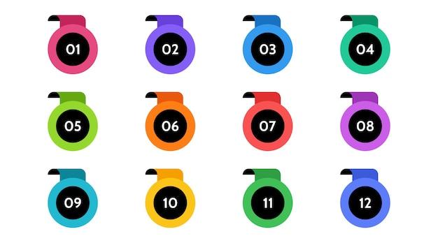 Данные по маркерам, информационные маркеры. значок стрелки установлен. число флажков от 1 до 12 плоский изолированный дизайн. инфографическая иллюстрация.