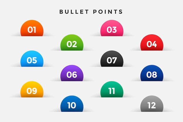 Bullet points numbers set in half circle style