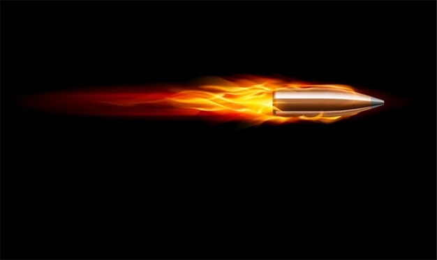 Bullet vector. bullet in fire.
