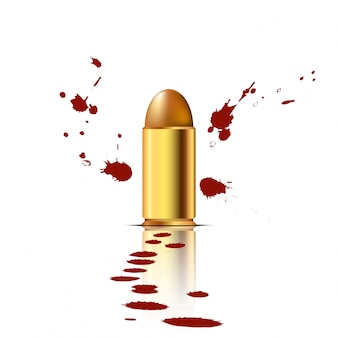 Bullet with blood background