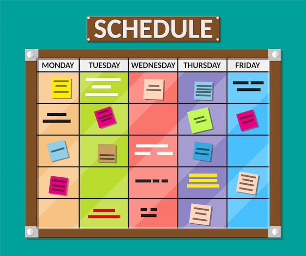 Bulletin board full of tasks on sticky note cards.