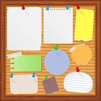 Bulletin board with paper notes