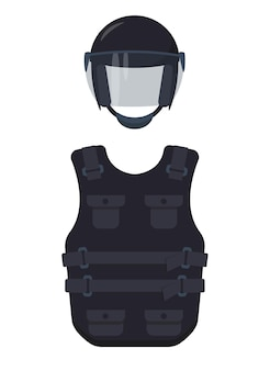 Bulletproof vest and helmet icons isolated on white background