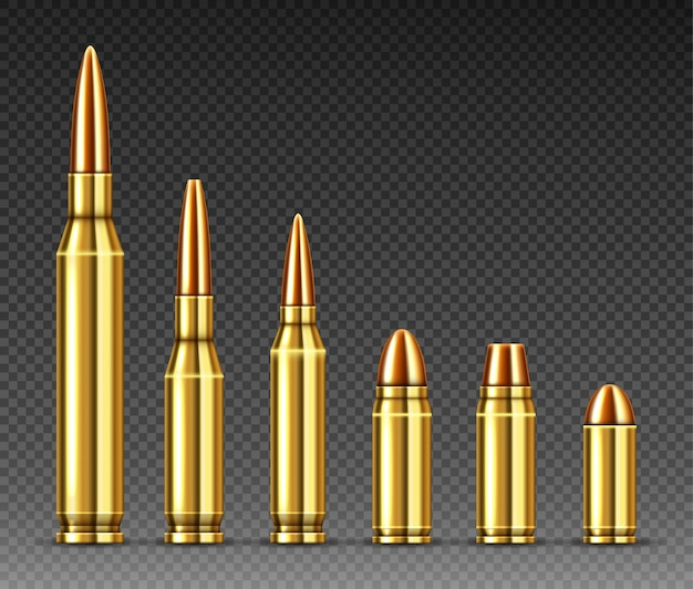 Bullets of different calibers stand in row, ammo