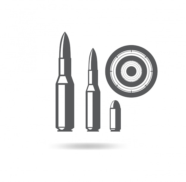 Bullets   illustration icon for firearms with the target