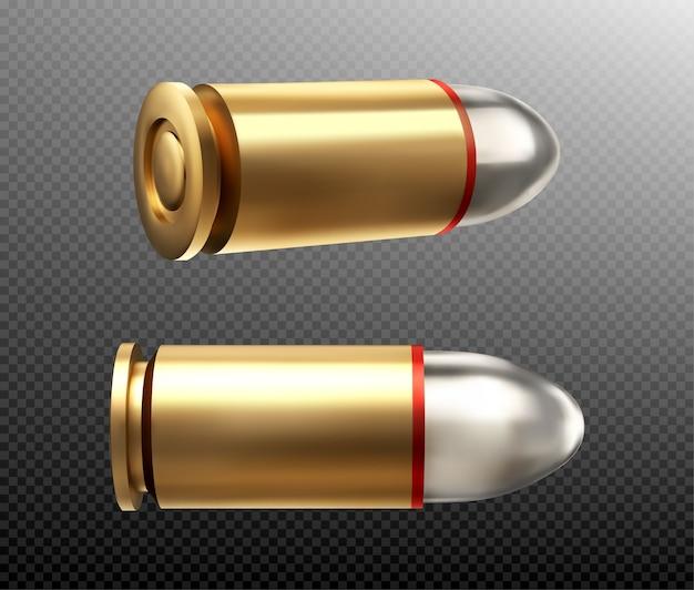 弾丸の側面と背面図。パラベラム用のスチールヘッドを備えた銅または金色の9mmショット。透明な背景に分離された軍用拳銃の弾薬武器の金属銃声現実的な3dアイコン 無料ベクター