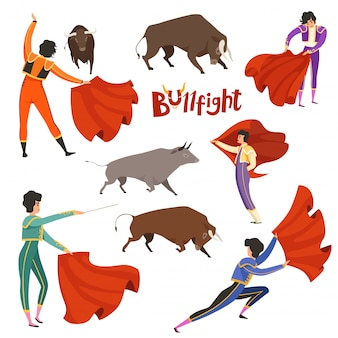 Bullfighting corrida. vector illustration of matador and bull in various dynamic poses
