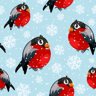 降雪とウソの鳥のシームレスなパターン。メリークリスマスコレクションの背景。冬の風合い。ベクトルイラスト。ウソと雪は別々の層にあります。
