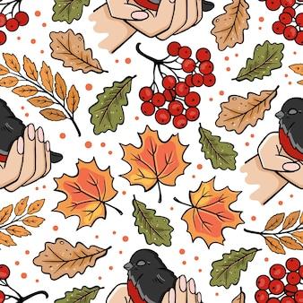 Bullfinch in hands autumn fall nature season forest bird floral cartoon seamless pattern